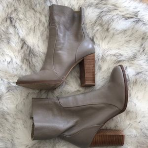 Gray leather booties